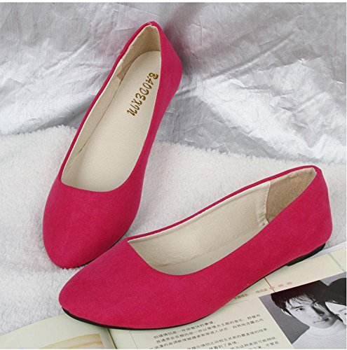 LvYuan Women's Flats / Suede / Office & Karriere / Flat Ferse / Comfort Outdoor Casual Mode / Loafers & Slip-Ons / Gehen faule Schuhe rose red