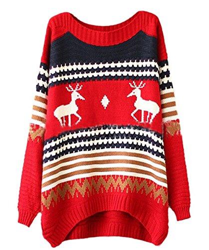 OYMMENEY da donna Natale Renna pupazzo allentato Maglieria Maglione Manica Lunga Pullover Felpa Red