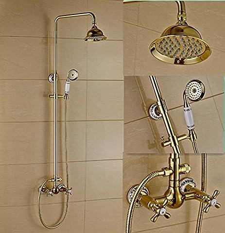 ZXYcontinental douche ensemble chaud froid pleine de cuivre continental mur douche rétro or tap bain et douche, robinets