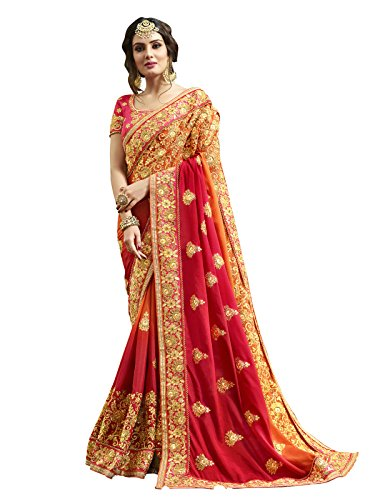 KANCHNAR Georgette Saree With Blouse Piece (694S105_Red_Free Size)