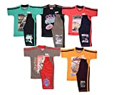 #6: 1ly Shirts Boys Fancy Half sleeve T-shirt with shorts -5pcs pack with Attractive colours and Print designs