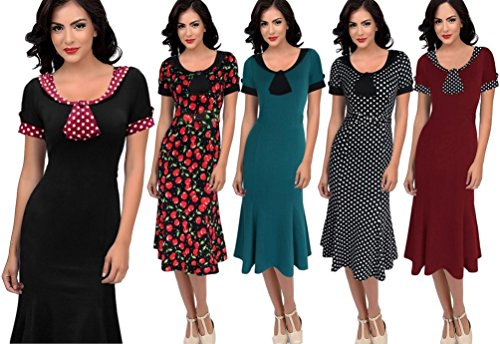 Robe de Rockabilly Pin Up Wiggle Crayon Années 40 50 Style Vintage Noir
