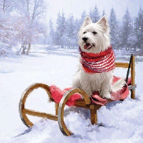 Ambiente Papierservietten - Servietten Lunch / Party / ca. 33x33cm Westie Outdoor - Weihnachten - Hund - Ideal Als Geschenk Und Tisch-Deko