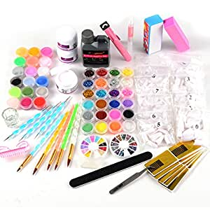 42tlg acryl starter set pulver liquid nageltips stra stein glitter pinsel feile beauty. Black Bedroom Furniture Sets. Home Design Ideas