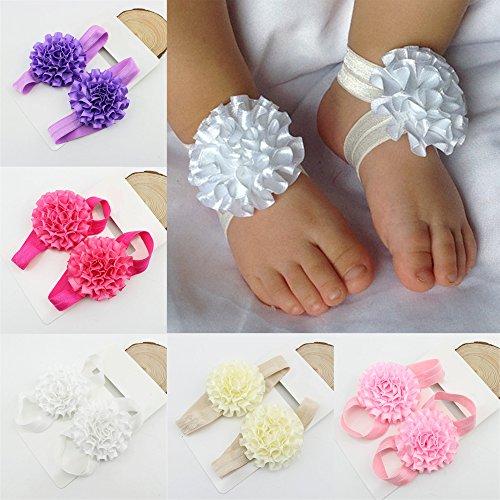 Sanwood Baby Girl nastro fiori a piedi nudi sandali scarpe Pink