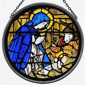 Glasmalerei-Sonnenfänger in einer Madonna und Kind Design.