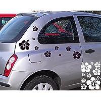 Folienaufkleber/Autoaufkleber Set ***Hibiskusblüten B6 - Komplett-Bogen A4*** - (Größen und Farbauswahl)
