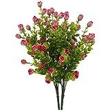 2 Mazzi Fiore Eucalipto Artificiale 6 Rami Piante Decorazione Casa Ufficio Feste - Rosa