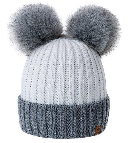 MFAZ Morefaz Ltd Mujer Gorro de Invierno Beanie Sombrero De Invierno Doble  Pompón Esquí de Moda 473d93a33644
