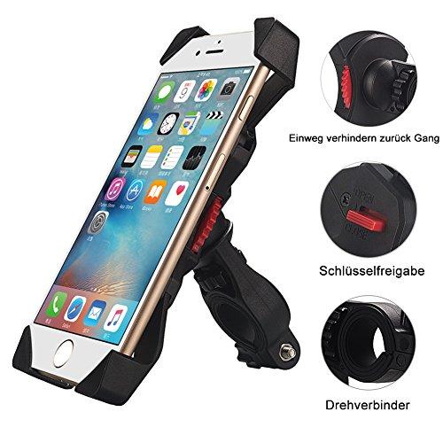 Preisvergleich Produktbild Fahrradhalterung,Dreamore Universal Fahrrad Handyhalterung Einklemmen an den vier Ecken mit 360 Grad drehbare Für 3,5-6,5 Zoll Smartphone GPS Andere Geräte
