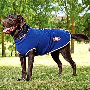 WEATHERBEETA Manteau Couvre-reins en polaire pour chien tapis avec fermeture éclair Bleu marine/rouge/blanc