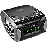 Karcher UR 1306 Uhrenradio (CD-Player, PLL-FM-Radio, AUX-In, Weckfunktion, Snooze, Dual-Alarm) schwarz/silber