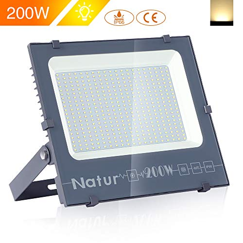 Glühlampe Innen Flutlicht Reflektor (Natur 200W LED Strahler, 20000LM Superhell Fluter,IP66 wasserdicht Industriestrahler, Warmweiß Flutlicht-Strahler,Außen-Leuchte Flutlicht-Strahler für Innen- und Außenbereich)