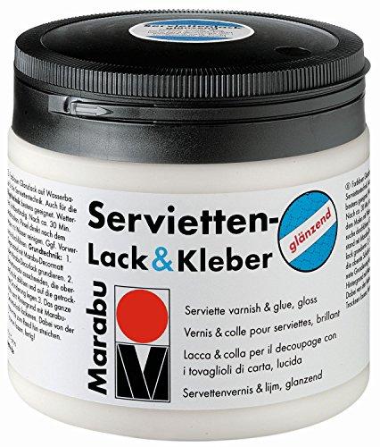 Marabu 11400075844 - Transparenter Lack und Kleber für Serviettentechnik, glänzend, auf Wasserbasis, Wetterfest und lichtbeständig, auch für Bügeltechnik, 500 ml Dose