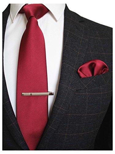 JEMYGINS Herren Hochzeit Krawatten und Einstecktuch krawattenklammer Set einfarbig in verschiedenen Farben, Dunkelrot, M Design-krawatte Tie