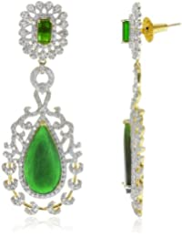 Parshva Leaf Shape 6.9' Long Diamond EarRing With Stone For Women