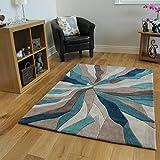The Rug House Alfombra de marca Beis y Azul turquesa diseño abstracto 100% Poliéster