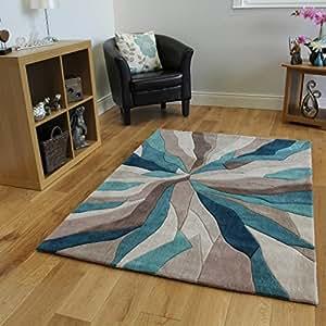 Tappeti moderni alta qualit foglia di t e beige motivo - Amazon tappeti moderni ...