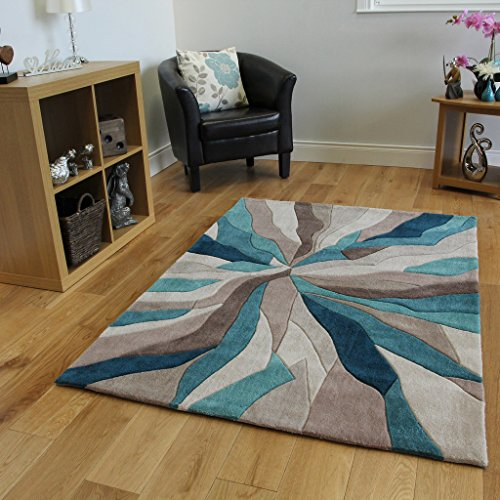 The Rug House Alfombra marca Beis Azul turquesa diseño
