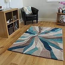 Alfombra de marca Beis y Azul turquesa diseño abstracto 100% Poliéster