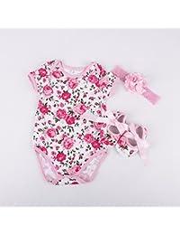 Vale® 3pcs Bebé recién nacido de manga corta floral del verano del mameluco del mono de la venda de los zapatos de ropa de los sistemas