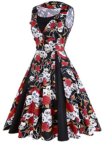 OWIN Damen Polka Dot Retro Vintage 50er Jahre Rockabilly Cocktailparty Swing Kleid Skelett+rote Rose