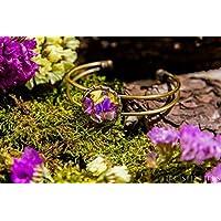 Bracelet en métal et en verre - Fleurs colorées naturelles et séchées de lavande de mer - 20mm - Cadeau Fête de Mères