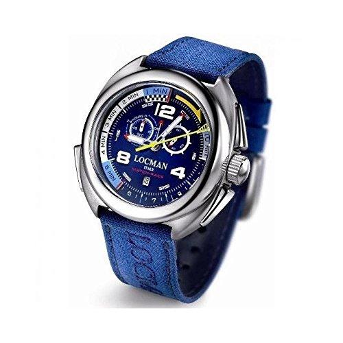 Montre Locman Homme 013700bl0007cob au quartz (Batterie) titane Quandrante Bleu Bracelet tissu