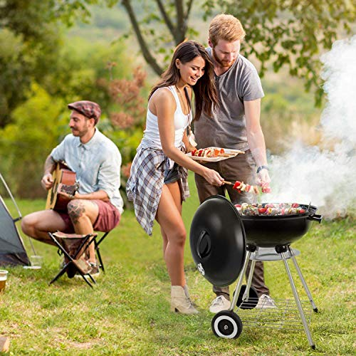 51qLyvmTXmL. SS500  - BEAU JARDIN Portable Charcoal Grill for Outdoor Grilling with Lid 4 Legs Rolls 18in Grill BBQ Kettle Outdoor Picnic Patio Backyard Camping Tailgating Steel Cooking Grate for Steak Chicken