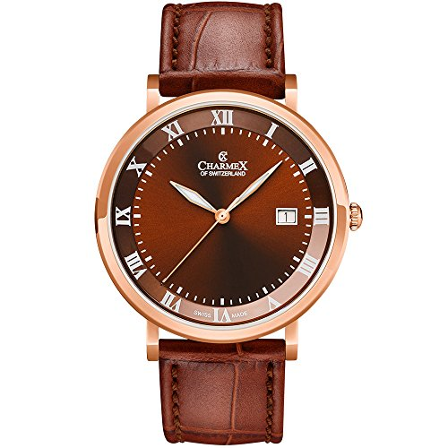 Charmex Men's Copenhagen 40.5mm Leather Band Steel Case Quartz Watch 2807