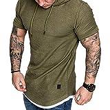 Sarplle Herren T-Shirt Slim Fit Kapuzenshirt Sportshirt Sommer Hooded Sweatshirt mit Kordelzug (M-2XL Optional)