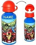 alles-meine.de GmbH Alu - Trinkflasche / Sportflasche - auslaufsicher -  The Avengers  - incl. Name - aus Aluminium 450 ml - für Kinder Aluflasche 0,45 Liter / 450 ml - Flasche..