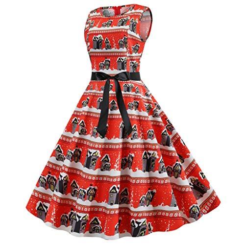 LILIGOD Damen Weihnachtskleider Frauen Vintage Langarm Kleid Elegant 50er Jahre Petticoat Kleider Rockabilly Kleid Christmas Print Cocktailkleider Party Swing Kleid Dress Knielang -