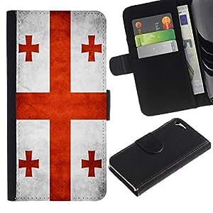Ledertasche Brieftasche Flip Karten-Beutel Weich-Halter HandyHülle für Apple Iphone 5 / 5S / CECELL Phone case / / National Flag Nation Country Georgia /