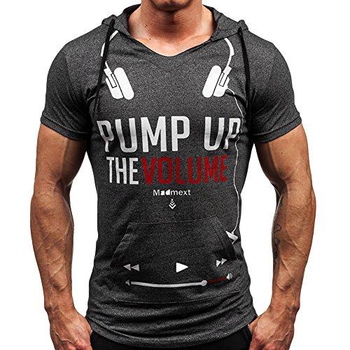 CHIC-CHIC Homme T-shirt Haut à Capuche Maillot Courtes Manches Casual Sport Jogging Athletic Gym Fitness Musculation (FR46-48, Foncé gris)