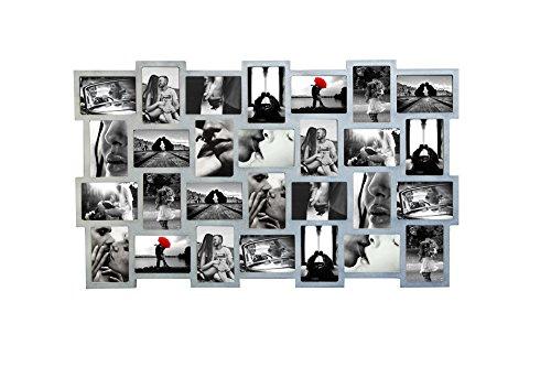 Mobili rebecca® portafoto multiplo cornici fotografie 28 spazi misure 10 x 15 mdf grigio complementi d'arredo casa (cod. re4513)