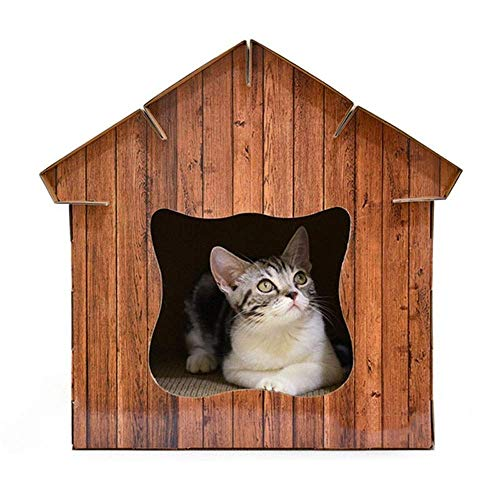WXH Cat House Condo Shelter Papplounge Outdoor Häuser Shelter mit Fluchttür für langlebiges Gut entfernt Werden kann Leichtere Reinigung Katze/Kleiner Hundehausgebrauch -