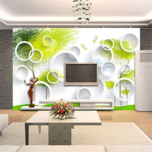 Mddjj Kundenspezifische Fototapeten-Abstrakter Baum 3D Kreist Wohnzimmer-Sofa-Fernsehhintergrund-Wand-Papier-Moderne Kunst Ein, Die Wand-Tapete 3D Malt Wohnzimmer Dekoration-350X245cm (Wand Papier Dekoration 3d)