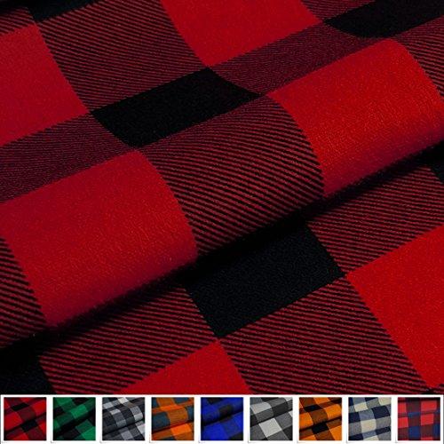 EDGE Flanell Baumwollstoff Karo 1lfm 150cm breit - rot (Karo-flanell-pyjama)