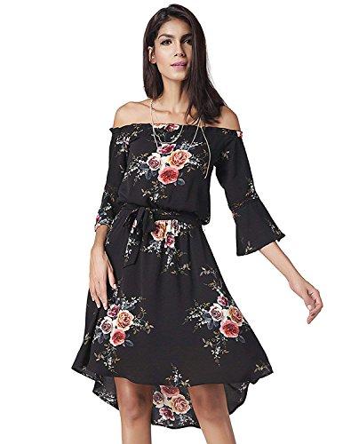 Modetrend donna asimmetrico vestiti spalla di parola vestito da spiaggia stampato floreale abito da matrimonio banchetto sera