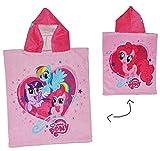 My Little Pony  - Badeponcho - 4 bis 8 Jahre Poncho - mit Kapuze - 50 cm * 115 cm - Handtuch Strandtuch Baumwolle - Mein Kleines Pferd Mädchen für Kinder Badehandtuch / Einhorn