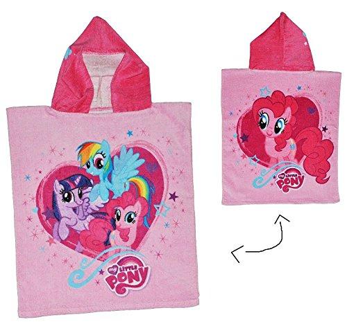 My Little Pony  - Badeponcho - 4 bis 8 Jahre Poncho - mit Kapuze - 50 cm * 115 cm - Handtuch Strandtuch Baumwolle - Mein Kleines Pferd Mädchen für Kinder Badehandtuch / Einhorn (Blossom Bademantel)