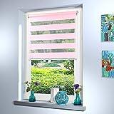 Doppelrollo nach Maß, hochqualitative Wertarbeit, alle Größen und 18 Farben verfügbar, Duo Rollo, Rollo nach Maß, für Fenster und Türen, Klemmfix ohne Bohren (180cm Höhe x 75cm Breite / Rosa)
