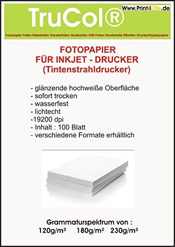 500 fogli di carta fotografica a4, 180g / mq, alto -lucida (lucido) -instant bianco secco-alta brillantezza dei colori -wasserfest-brillante, per stampante a getto d'inchiostro (a getto d'inchiostro)