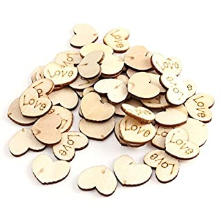 AUAUDATE 50pcs Rustic Wooden Small Love Heart Wedding Table Scatter Decor Crafts DIY Tool 15 x 11mm