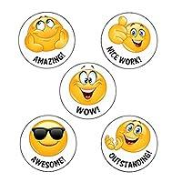 125 x Wow! Emoji Reward Stickers. Wow!, Nice work!, Amazing!, Awesome!, Outstanding! School Stickers