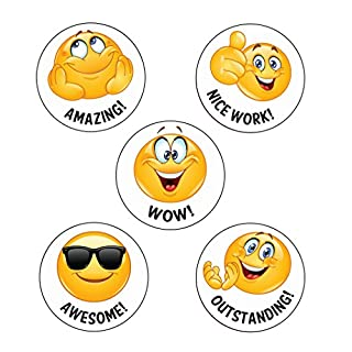 125 x Wow! Emoji Reward Stickers. Wow!, Nice work!, Amazing!, Awesome!, Outstanding! School Stickers
