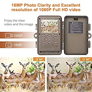 AGM Wildlife Camera with Night Vision Motion Activated, 16MP 1080P HD Trail Camera with 120° Wide Angle Lens for Hunting Outdoor Nature