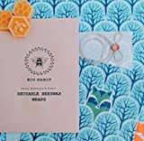 Set of 3 100% Natural Beeswax Wraps, Zero Waste, Biodegradable, Handmade, Forest