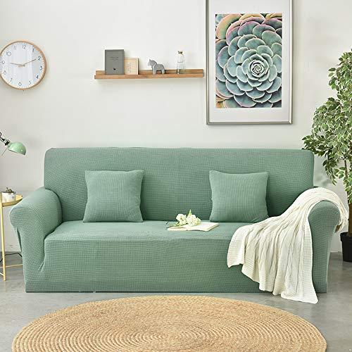Bingbing spandex colore solido copridivano elasicizzato antiscivolo fodera protettiva per divano protector, verde, 3 posti